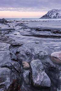 Stream at Skagsanden Beach, Lofoten, Norway