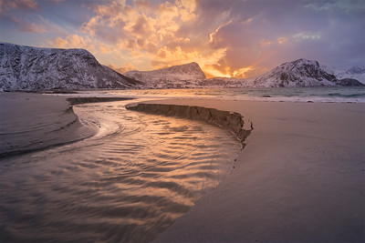 River at Haukland Beach, Lofoten, Norway