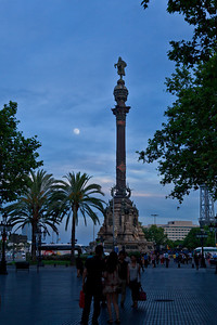 Barcelona, Spain Columbus Monument located by the Mediterranean at the end of Barcelona's Las Ramblas. It was built in 1888.