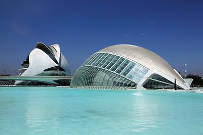 Valencia, Spain L'Hemisfèric & the Opera House (El Palau de les Arts Reina Sofía) at the City of Arts and Sciences.