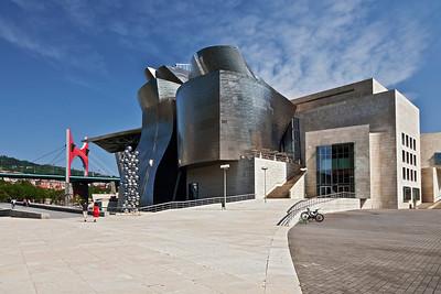 Bilbao, Spain The Guggenheim Museum with a view of La Salve bridge.