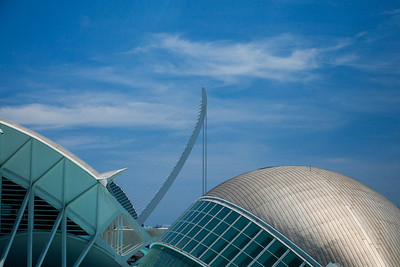 Valencia, Spain At The City of Arts and Sciences in Valencia, this photo looks over the L'Hemisfèric buildingand the Museu de les Ciències Príncipe Felipe (Prince Felipe Science Museum) towards the Assut de l'Or bridge.