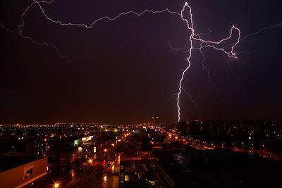 Barcelona, Spain Lightening at night over Barcelona