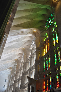 The sunlight that filters in from the skylights and the stained glass windows creates a wonderful effect!
