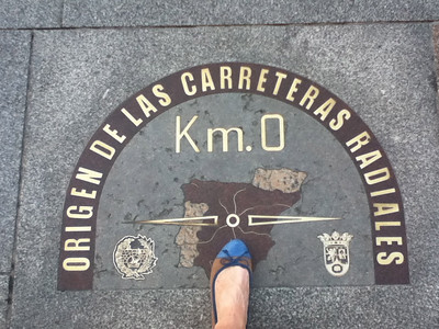 If you step on this marker in the centre of Spain (not quite but very close) you will return to Madrid one day.