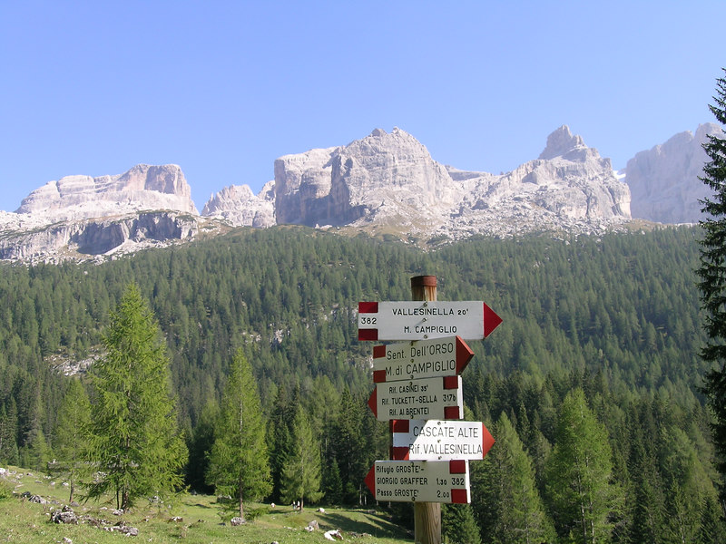 There are numerous trails, via ferrata, climbing routes and mountain huts throughout the area. This junction below the main spires of the Brenta Group shows the way to many of them.