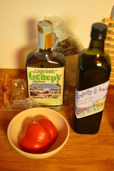 Olive oil and tomato, with genepy from Cuneo.