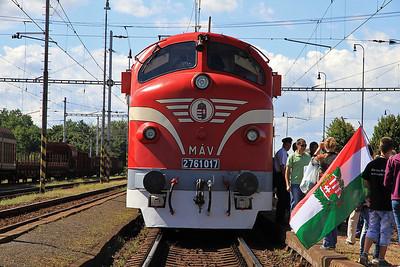 MÁV M61 017 at Pribeník on the 'Karpátálja Expressz', note the 2 Hungarian flags !  - 09/09/11.