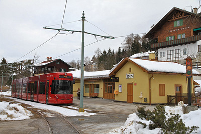 IVB Tram (316) at Igls on arrival with the 14.17 Line 6 service from Bergisel - 23/02/12.