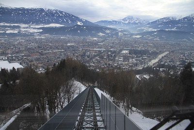 View from the front of the Funicular as we depart Hungerburg - 29/02/12.