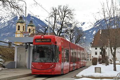 IVB Tram (316) at Bergisel on a Line 1 service to Mühlauer Brücke - 23/02/12.