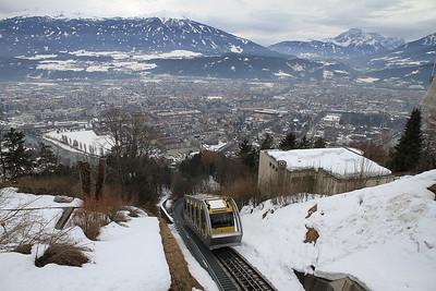 Funicular car no.1 arrives at Hungerburg - 29/02/12.
