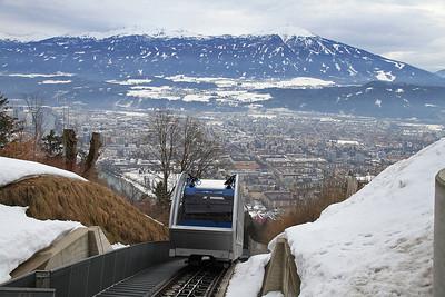 Funicular car no.2 arrives at Hungerburg - 29/02/12.