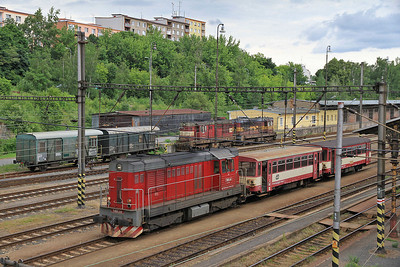 ČD 742201, Karlovy Vary, awaiting its next turn on the Johanngeorgenstadt line - 04/07/13.