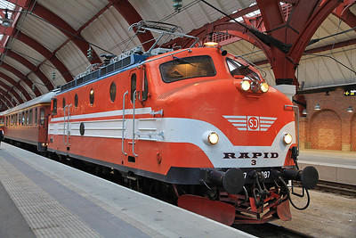 Ra 987 (ex-SJ, now preserved), Malmö C., Day 1 of PTG 'Rail wonders of Southern Sweden' Charter - 22/09/13.