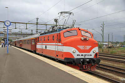 Ra 987 (ex-SJ, now preserved), Nässjö C., Day 1 of PTG 'Rail wonders of Southern Sweden' Charter - 22/09/13.