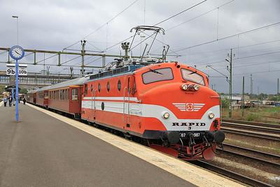 Ra 987 (ex-SJ, now preserved), Nässjö C., Day 1 of PTG 'Rail wonders of Southern Sweden' Charter - 22/09/13.