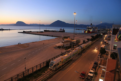Evening view from hotel balcony in Patra - 10/04/13.