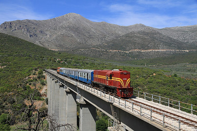 OSE A9101, photo stop on Sirtis viaduct, 7461 08.00 Kalamata-Korinthos charter - 13/04/13.