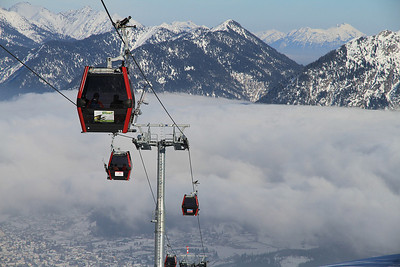 cable cars near the top station at the Hahnenkamm - 01/03/13.