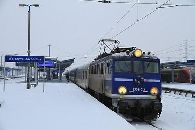 PKP EP08 012, Warszawa Zachodnia, I-91502 0535 Łódź Kaliska-Warszawa Wschodnia - 08/02/13.