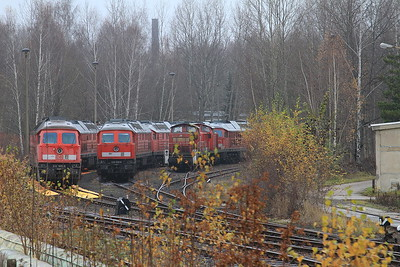Lines of stored DB loks at Chemnitz Hilbersdorf including 232505 / 232529 / 290526 - 06/12/14.