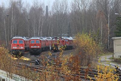 Lines of stored DB loks at Chemnitz Hilbersdorf including 232505 / 232529 / 290526 - 06/12/14.