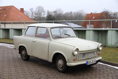 A once common sight in East Germany, now very rare, a lovely old Trabant - 03/02/14.