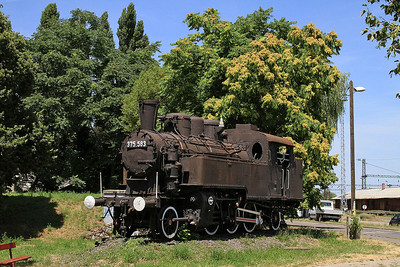 ex-MÁV 2-6-2T 375.583 plinthed outside the station at Kiskunhalas - 28/06/14.