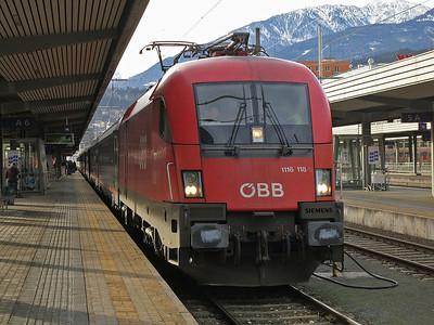 ÖBB 1116 118, Innsbruck Hbf, EC82 10.36 to München - 03/01/14.