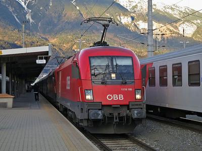 ÖBB 1116 189+267, Innsbruck Hbf, EC164 09.45 Graz-Zürich - 03/01/14.