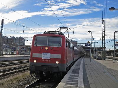 DB 111 036 (on hire to Meridian), München Ost, M79021 12.44 München-Salzburg (Vice EMU) - 06/01/14.