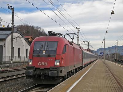 ÖBB 1116 084 arr Jenbach, EC85 09.38 München-Bologna C. - 03/01/14.