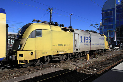Dispolok 182596 (on hire to Meridian), München Hbf, on rear of M79069 12.44 to Kufstein - 24/02/14.