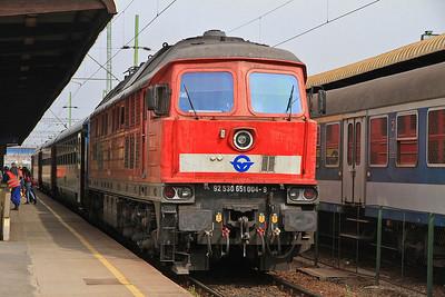 DB (on hire to GYSEV) 651004 (232598), Szombathely, IC912 08.10 ex Budapest Keleti  - 05/04/14.