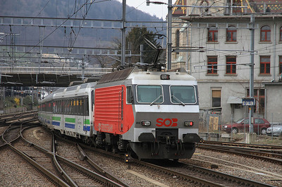 SOB 446015 dep St Gallen, on rear of IR2414 10.05 to Luzern  - 22/03/14.