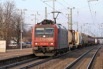 SBB 482028 passes Müllheim(Baden) with a Southbound mixed freight - 04/02/15.