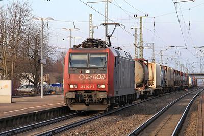 SBB 482028 passes Müllheim(Baden) with a Southbound mixed freight - 04/02/15.