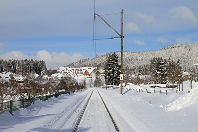 Looking down the track at Schluchsee station - 04/02/15.