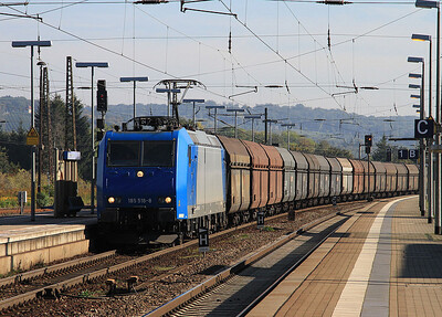 CFL Cargo 185518 heads through Naumburg (Saale) Hbf with a Westbound coal train - 02/10/15.