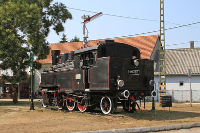 MÁV 2-6-2T 375.1517 plinthed outside Gyékényes station - 14/08/15.