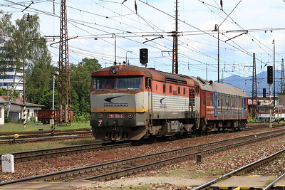 ZSSKC 751109 shunting an engineer's sleeping car at Vrútky - 21/06/16.
