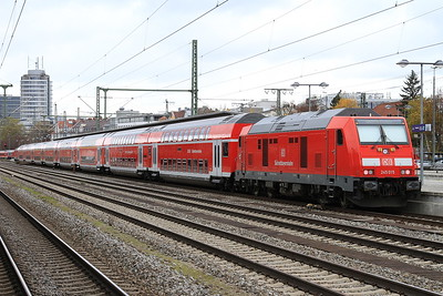 DB 245015 (245014 front), München Ost, on rear of RB27045 14.07 München-Mühldorf (starting here due to engineering work) - 11/11/16.