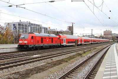 DB 245014 (245015 rear), München Ost, RB27045 14.07 München-Mühldorf (starting here due to engineering work) - 11/11/16.
