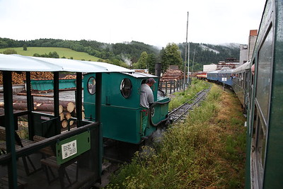 """ŽSSKC 751 131 + SVV 749 248 arrive at Hronec, R31223 SSA """"Diesel Tour 2017"""" - Day 1 (Joined with another charter for this leg) ........ ČHŽ kettle no.3 rolls in alongside on the narrow gauge line with our charter train - 01/07/17."""