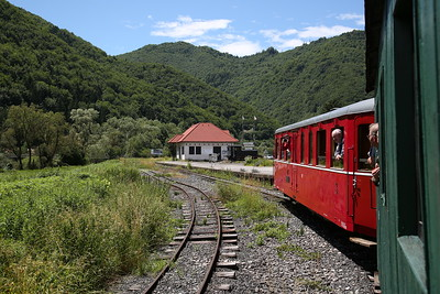 ČHŽ Railcar M21 004 arriving at Chvatimech ČHŽ, 12.15 Charter ex Svätý Ján - 01/07/17.