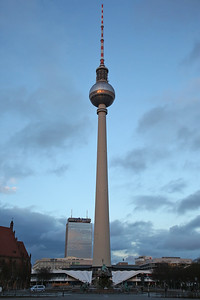 The Fernsehturm (Television Tower) at Alexanderplatz, Berlin, in the fading light - 01/03/17.