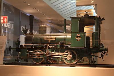 "1:10 model Bavarian DVI 0-4-0 ""Donaustauf"" on display in the DB museum, Nürnberg - 03/01/17."