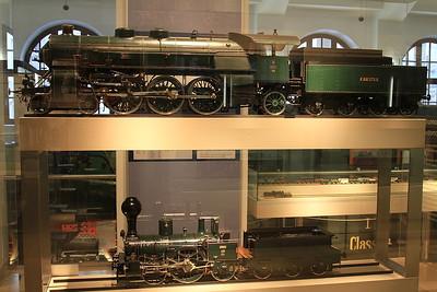 1:10 model Bavarian S 3/6 4-6-2, 3601 & AI3 2-2-2 on display in the DB museum, Nürnberg - 03/01/17.