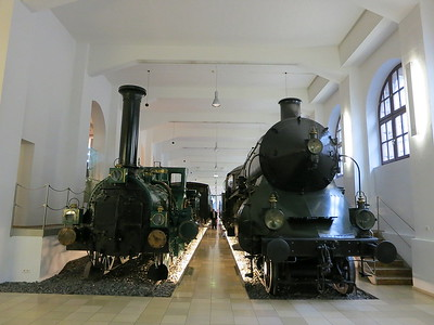 Bavarian State Railway Crampton 4-2-0 'Phoenix' (built 1863, Karlsruhe), and Class S 2/6 4-4-4 3201 (built J A Maffei, Munich, 1906) on display in the DB museum, Nürnberg - 03/01/17.